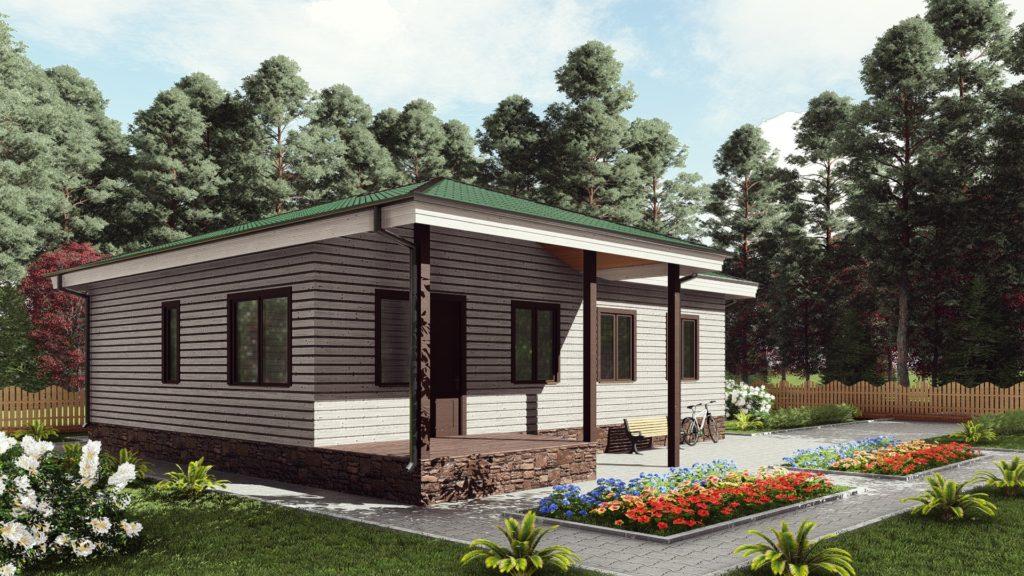 Одноэтажный каркасный дом 9 на 12